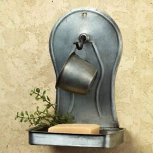 Primitive Country Farmhouse Chic Bath Soap Cup Holder Tin Wall Shelf Holder