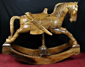 Antique Hand Carved Wooden Rocking Horse 2 Piece Equestrian Ornate Detail Sword