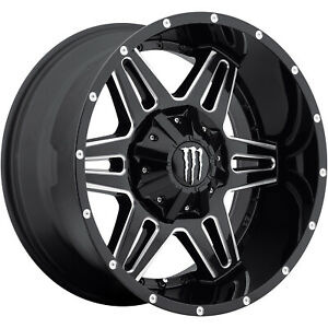 20x12 Black Milled Wheel Monster Energy 538bm 8x6 5 44