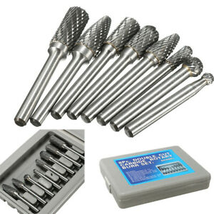 8x 1 4 double Cut Carbide Rotary Burrshank File Power Tools Double Cut W Case