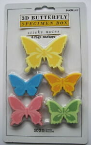 Suck Uk 3d Butterfly Sticky Note Pad 5 Colors Yellow Blue Orange Pink Green