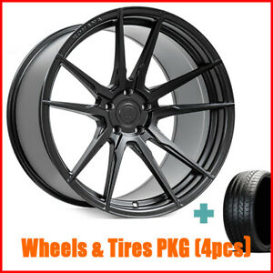 Qty4 19 Staggered Rohana Rf2 Matte Black Wheels And Tires