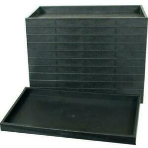 12 Black Stackable Plastic Display Trays Storage Containers 14 3 4 X 8 1 4