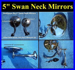 5 Swan Neck Rear View Mirrors Door Cowl Exterior Round Hot Rod Streetrod Ford