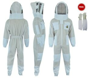 3 Layer Ultra Ventilated Bee Beekeeper Beekeeping Suit Fencing Veil Small Size