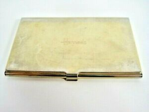 Harrods Gold Tone British Vintage Business Card Holder Metal Plated Hinged Lid