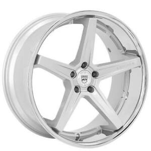 Qty4 19 Staggered Wheels And Tires Lexani Savage Silver W Chrome Lip