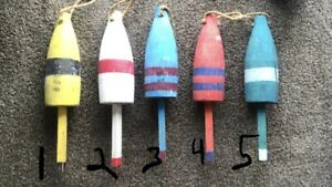 Maine Lobster Buoy Wooden Hand Painted Rare Nautical Ocean Lake Decor