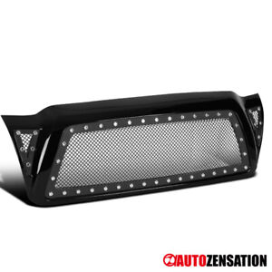 For 05 11 Toyota Tacoma Abs Black Mesh Rivet Front Bumper Hood Grille W Shell