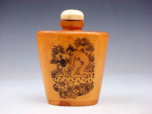 Bone Crafted Snuff Bottle Exotic Ancient Figurines Painted W Spoon 02131903