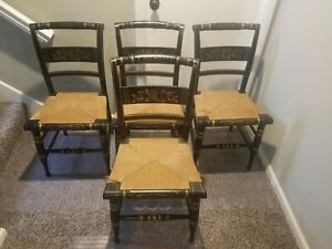 Vintage Hitchcock Chairs Rush Seating Dining Chairs 4