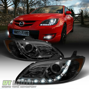 Smoke 2004 2008 Mazda 3 4dr Sedan Led Daytimr Running Light Projector Headlights