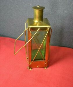 Vintage Brass Lantern Decanter With Music Box Movement In Base Made In Sweden