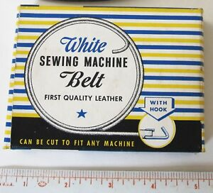 Rare Vintage White Sewing Machine Belt Leather In Box 1930s 1940s 72 Extra
