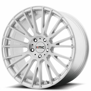 4 set 20 Staggered Kmc Km706 Impact Brushed Silver Wheels And Tires