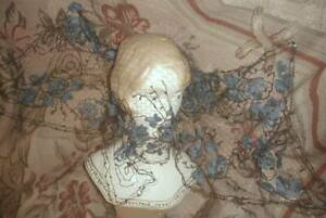 Exquisite 1860s Victorian French Silk Soutache Embroidered Veil Blue Millinery