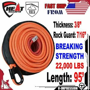 Synthetic Winch Rope 95 X 3 8 22 000lbs Orange With Rock Heat Guard Sheath