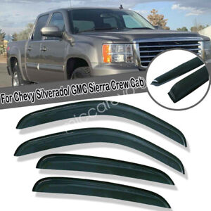 For 2007 2013 Chevy Silverado 1500 Crew Cab Window Vent Visors Out Channel Smoke