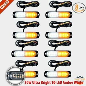 8pcs 10 Led Strobe Lights White Amber Emergency Flashing Warning Beacon 12v 24v