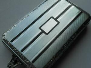 Lovely Little Antique Art Deco Silver Enamel Cigarette Card Case