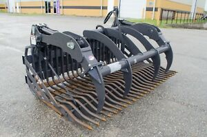 Skid Steer 75 Rock Bucket W grapple Attachment 2 Spacing factory Demo Save