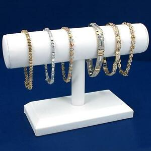 White Leather T bar Bracelet Necklace Chain Watch Jewelry Display Kit 6 Pcs