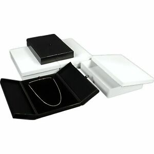 Large Black Necklace Chain Showcase Display Gift Boxes With Snap Lid Kit 36 Pcs