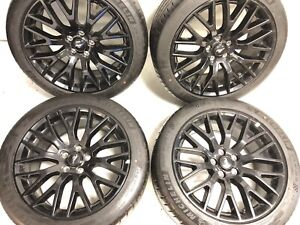 2015 2019 Mustang Gt Oem 19 Staggered Gloss Black Wheels W Michelin Tires Set