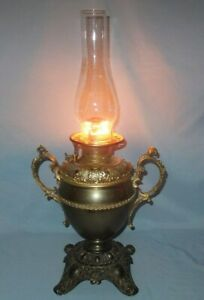 1890 S Original B H Bradley And Hubbard High Dome Trophy Handle Banquet Oil Lamp