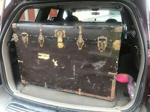 Antique Travel Wardrobe Steamer Trunk Chest Purse Rare Item High End