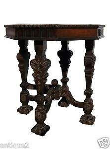 Italian Walnut Carved Renaissance Antique Octagonal Entry Occasional Table