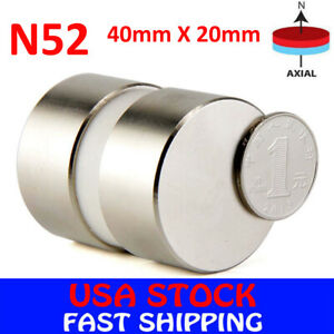 N52 Large Neodymium Rare Earth Magnet Big Super Strong Huge Size 40mm 20mm