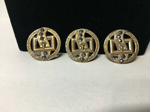 Antique Three 1 1 16 Metal Buttons With Cut Outs Belt Buckle Cut Steel Accents