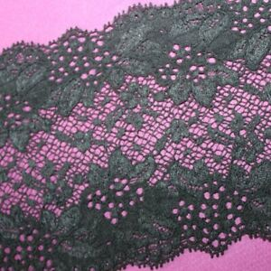 Vintage French Black Embroidered Flower Lace Elastic