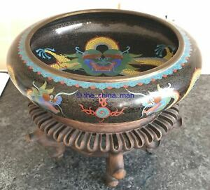 11 5 Signed Antique Chinese Cloisonne Dragon Flaming Pearl Fire Bowl On Stand