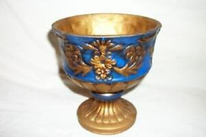 Italian Florentine Pottery Planter Compote Blue Gold Ornate Mid Century Cottage