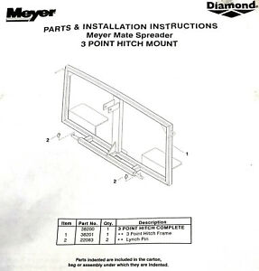New Meyer 3 point Hitch Mount Kit For Mate Xl Salt Sand Spreaders 38200