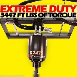 Skid Steer Auger 3000 Psi Extreme Duty gear Drive mcmillen X2475 Comes W 12 Bit