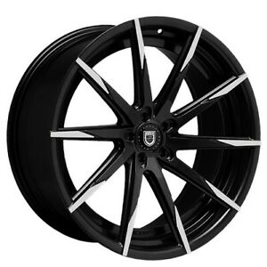 4 set 20 Staggered Wheels And Tires Lexani Css 15 Black W Machined Tips
