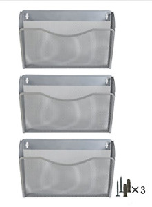 Wall Mounted Organizer silver 3 Pocket File Holder Document