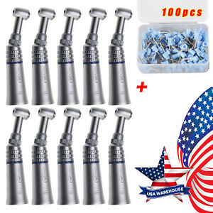 10 skysea Dental Low Slow Speed Contra Angle Handpiece Push 100 polish Cups Blue