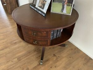 1940 1950 Vintage Leather Top With Gold Leaf Embossed Rotating Drum Table