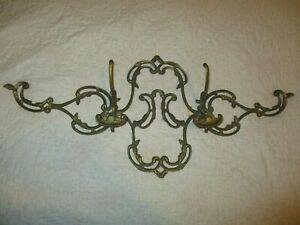 Large Vintage Brass Coat Hat Rack Wall Mount 30 Long 12 5 Tall Great Ornate