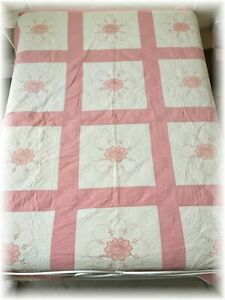 Vintage Embroidered Flowers Quilt Hand Quilted 66 X 88 Cross Stitch Antique