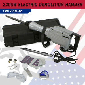 2200w Electric Demolition Hammer 1900rpm Concrete Breaker Chisels Silver