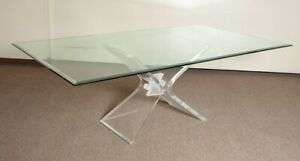 A Awesome Vintage Mid Century Modern Glass Top Lucite Dining Table Circa 1970 S