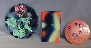 3 Aida Klein Cleveland Fine Art Craft Enamel Copper Abstract Painting Dish Panel