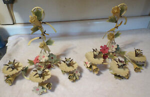 Pair Vintage Mid Century Italian Tole Flower Wall Candle Sconces