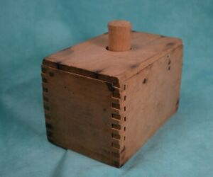 Vintage Wooden Butter Mold Press Rectangular Box Dovetailed