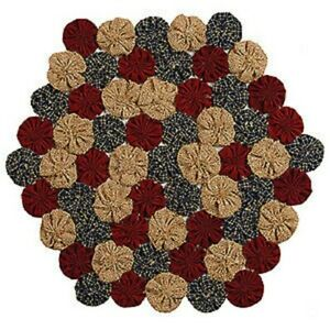 New Primitive Red Navy Tan Americana Penny Stitched Candle Mat Yo Yo Doily